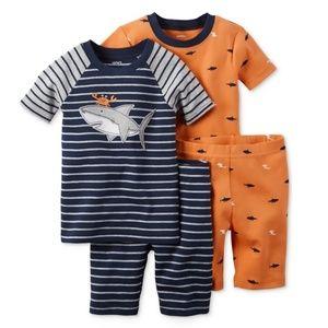 Carter's Baby Boys Shark 4-Pc. PJ's, Orange, 6M